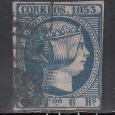 Sellos: ESPAÑA, 1853 EDIFIL Nº 21, 6 R. AZUL. Lote 254807675