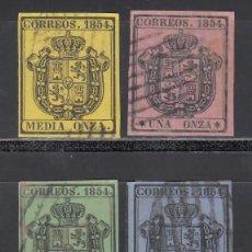 Sellos: ESPAÑA, 1854 EDIFIL Nº 28 / 31, ESCUDO DE ESPAÑA, SERIE COMPLETA, 4 VALORES.. Lote 254815465
