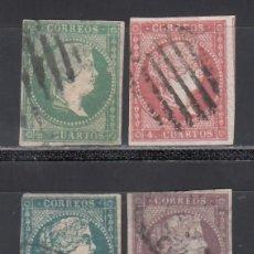 Sellos: ESPAÑA, 1855 EDIFIL Nº 43, 44, 45, 46, SERIE 4 VALORES, FILIGRANA LINEAS CRUZADAS.. Lote 254818385