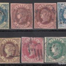 Sellos: ESPAÑA, 1862 EDIFIL Nº 57 / 62, 58A, SERIE COMPLETA, 7 VALORES. Lote 254909915