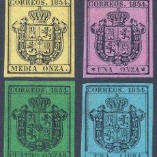 Selos: EDIFIL 28-31 ESCUDO DE ESPAÑA 1854 (SERIE COMPLETA). FALSO FILATÉLICO.. Lote 255460805