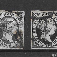 Sellos: ISABEL II EMISION DE 1851 EDIFIL 6. VARIEDADES DE COLOR DEL 6 CUARTOS. Lote 255506075