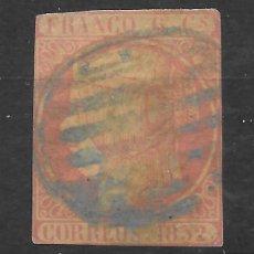 Sellos: ISABEL II EMISION DE 1852 EDIFIL 12. 6 CUARTOS CON PAPEL ACEITOSO Y PARRILLA AZUL. Lote 255506435