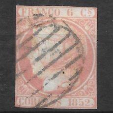 Sellos: ISABEL II EMISION DE 1852 EDIFIL 12. 6 CUARTOS VARIEDAD SIN PUNTO ENTRE CORREOS Y 1852. Lote 255507980