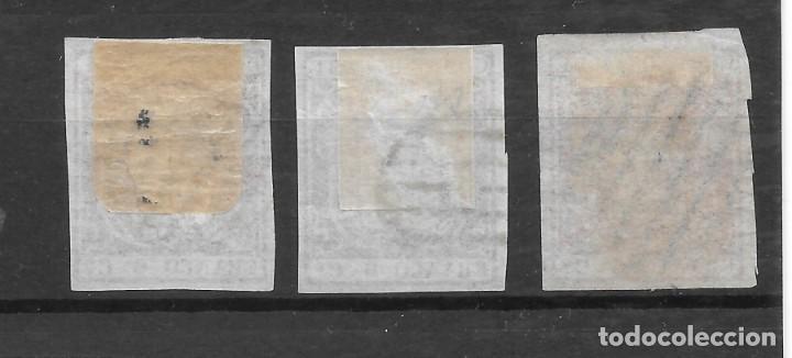 Sellos: ISABEL II EMISION DE 1854 EDIFIL 24. TRES 6 CUARTOS EJEMPLARES DE LUJO - Foto 2 - 255509195