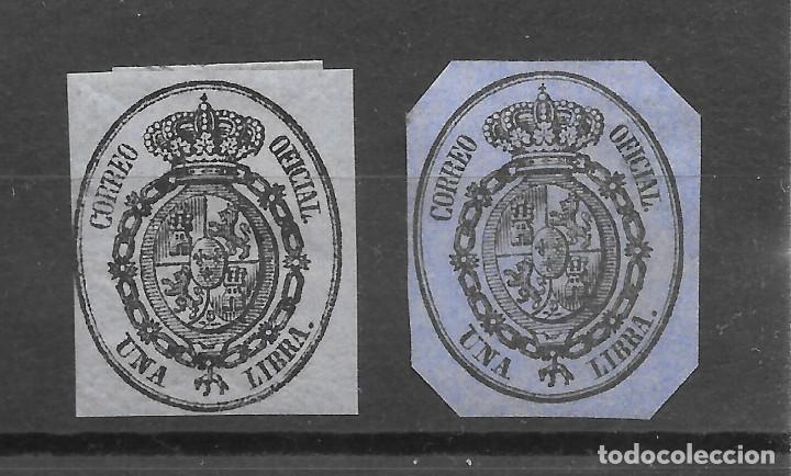ISABEL II SERVICIO OFICIAL 1855 EDIFIL 38. DOS SELLOS DIVERSOS TONOS DE COLOR CATALOGO 65 € (Sellos - España - Isabel II de 1.850 a 1.869 - Usados)