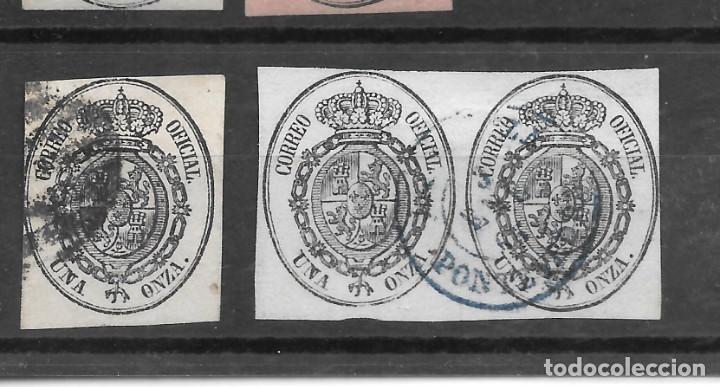 ISABEL II SERVICIO OFICIAL 1855 EDIFIL 36. SUELTO Y PAREJA. PONTEVEDRA (Sellos - España - Isabel II de 1.850 a 1.869 - Usados)