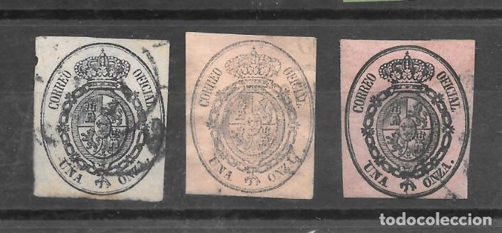ISABEL II SERVICIO OFICIAL 1855 EDIFIL 36. TRES SELLOS USADOS TONOS DE COLOR (Sellos - España - Isabel II de 1.850 a 1.869 - Usados)