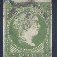 Sellos: EDIFIL 47 ISABEL II. AÑO 1855. SIN FILIGRANA. MATASELLOS RUEDA DE CARRETA. VALOR CATÁLOGO: 59 €.. Lote 255928670