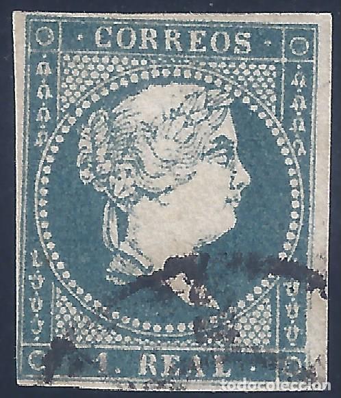 EDIFIL 49 ISABEL II. AÑO 1855. SIN FILIGRANA. MATASELLOS RUEDA DE CARRETA. VALOR CATÁLOGO: 34 €. (Sellos - España - Isabel II de 1.850 a 1.869 - Usados)