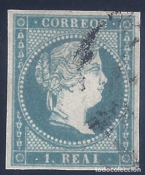 EDIFIL 49B ISABEL II. AÑO 1855. AZUL CLARO. MATASELLOS RUEDA DE CARRETA. V.C.ESPECIALIZADO: 40 €. (Sellos - España - Isabel II de 1.850 a 1.869 - Usados)