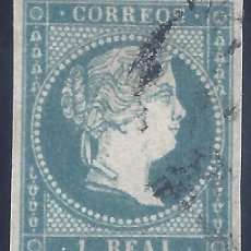 Sellos: EDIFIL 49B ISABEL II. AÑO 1855. AZUL CLARO. MATASELLOS RUEDA DE CARRETA. V.C.ESPECIALIZADO: 40 €.. Lote 255935085