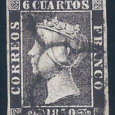 Francobolli: EDIFIL 1A. ISABEL II. AÑO 1850. TIPO 14. MATASELLOS DE ARAÑA NEGRA. PAPEL GRUESO. LUJO.. Lote 255954925