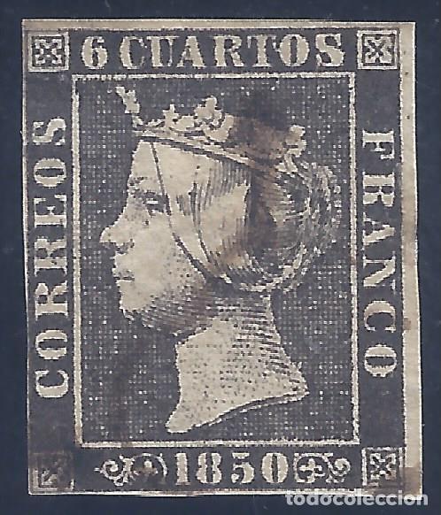 EDIFIL 1A. ISABEL II. AÑO 1850. MATASELLOS DE ARAÑA NEGRA. PAPEL GRUESO. NEGRO INTENSO. LUJO. (Sellos - España - Isabel II de 1.850 a 1.869 - Usados)