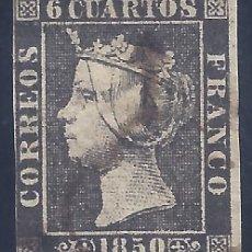 Sellos: EDIFIL 1A. ISABEL II. AÑO 1850. MATASELLOS DE ARAÑA NEGRA. PAPEL GRUESO. NEGRO INTENSO. LUJO.. Lote 255965300