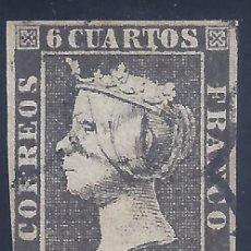 Sellos: EDIFIL 1A. ISABEL II. AÑO 1850. MATASELLOS DE ARAÑA NEGRA. PAPEL GRUESO. LUJO.. Lote 255966730