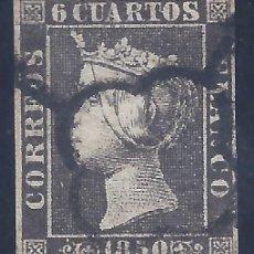 Sellos: EDIFIL 1A. ISABEL II. AÑO 1850. MATASELLOS DE ARAÑA NEGRA. PAPEL GRUESO. NEGRO INTENSO. LUJO.. Lote 257334430
