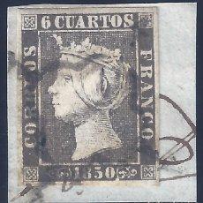 Sellos: EDIFIL 1A. ISABEL II. AÑO 1850. MATASELLOS DE ARAÑA NEGRA. SOBRE FRAGMENTO. MARQUILLADO ROIG. LUJO.. Lote 257342895