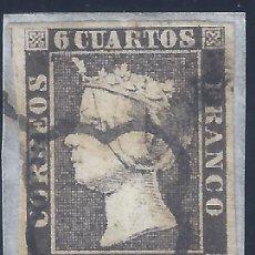 Sellos: EDIFIL 1A. ISABEL II. AÑO 1850. MATASELLOS DE ARAÑA NEGRA. SOBRE FRAGMENTO. MARQUILLADO ROIG. LUJO.. Lote 257344960