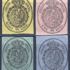 Selos: EDIFIL 35-38 ESCUDO DE ESPAÑA. SELLOS PARA EL SERVICIO OFICIAL 1855. VALOR CATÁLOGO: 40 €. MH *. Lote 257622505