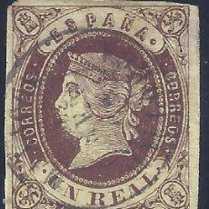 Sellos: EDIFIL 61 ISABEL II. AÑO 1862. MATASELLOS FECHADOR. VALOR CATÁLOGO: 29 €.. Lote 257632825