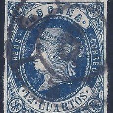 Sellos: EDIFIL 59 ISABEL II. AÑO 1862. MATASELLOS FECHADOR. VALOR CATÁLOGO: 12 €.. Lote 257633735