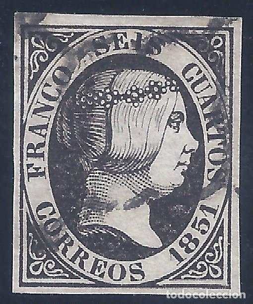 EDIFIL 6. ISABEL II. AÑO 1851. MATASELLOS DE ARAÑA NEGRA. NEGRO INTENSO. LUJO. (Sellos - España - Isabel II de 1.850 a 1.869 - Usados)
