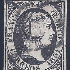 Francobolli: EDIFIL 6. ISABEL II. AÑO 1851. MATASELLOS DE ARAÑA NEGRA. NEGRO INTENSO. LUJO.. Lote 259036330