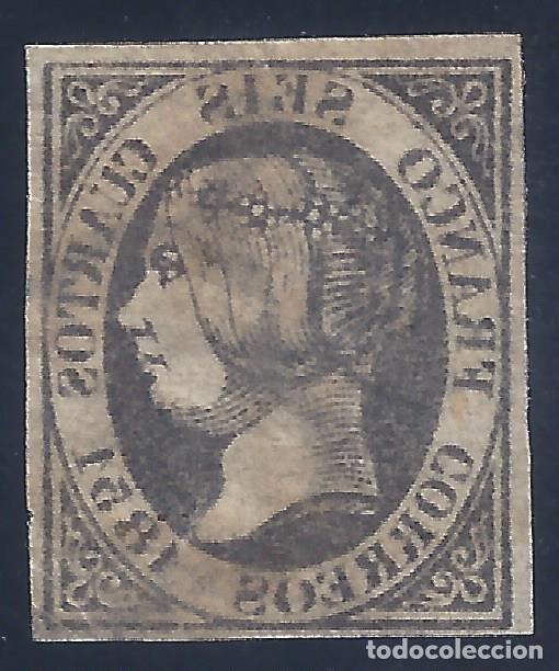 EDIFIL 6. ISABEL II. AÑO 1851. MATASELLOS DE ARAÑA NEGRA (VARIEDAD...CALCADO AL REVERSO). LUJO. (Sellos - España - Isabel II de 1.850 a 1.869 - Usados)