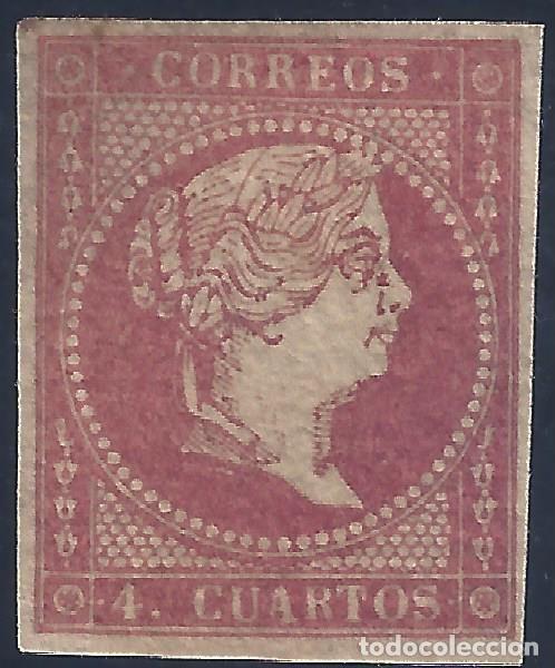 EDIFIL 44 ISABEL II. AÑO 1855. PAPEL FILIGRANA LINEAS CRUZADAS. LUJO. MNH ** (Sellos - España - Isabel II de 1.850 a 1.869 - Nuevos)