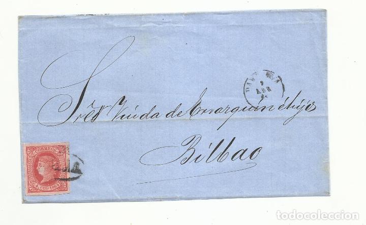 FRONTAL CIRCULADA 1864 DE BARCELONA A BILBAO (Sellos - España - Isabel II de 1.850 a 1.869 - Cartas)