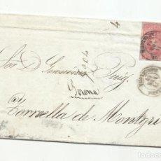 Sellos: CIRCULADA Y ESCRITA 1864 DE IGUALADA BARCELONA A TORROELLA GIRONA POR TAMARITE HUESCA. Lote 260624405