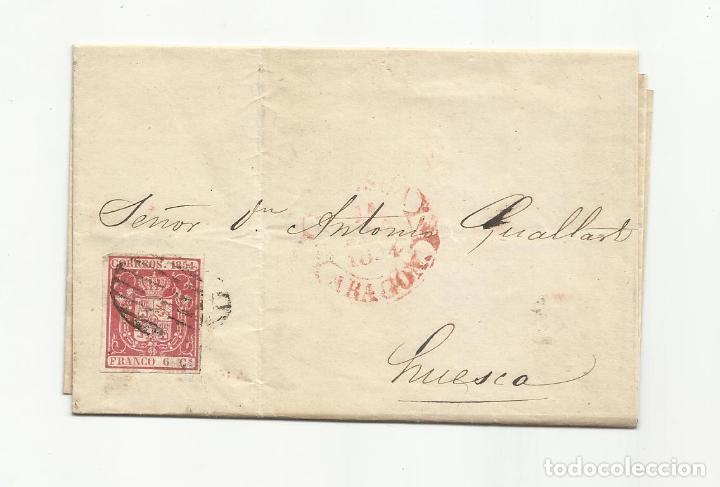 CIRCULADA Y ESCRITA 1854 A HUESCA ARAGON (Sellos - España - Isabel II de 1.850 a 1.869 - Cartas)