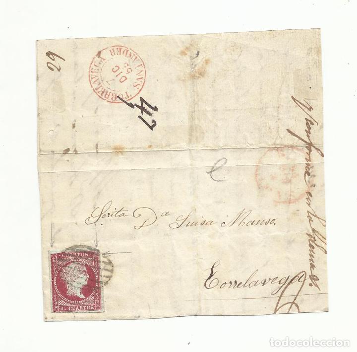 FRONTAL CIRCULADA Y ESCRITA 1855 A TORRELAVEGA SANTANDER (Sellos - España - Isabel II de 1.850 a 1.869 - Cartas)