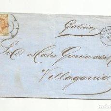 Sellos: ENVUELTA CIRCULADA 1860 DE SEVILLA A VILLAGARCIA POR CALDAS DE REIS CON RUEDA DE CARRETA. Lote 260626610