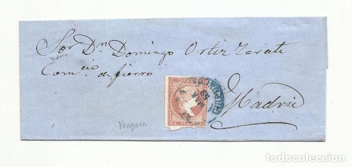 ENVUELTA CIRCULADA 1859 DE VERGARA GUIPUZCOA A MADRID (Sellos - España - Isabel II de 1.850 a 1.869 - Cartas)