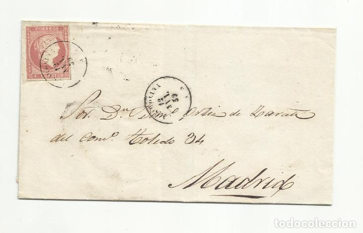 ENVUELTA CIRCULADA 1859 DE LA CAROLINA JAEN A MADRID (Sellos - España - Isabel II de 1.850 a 1.869 - Cartas)