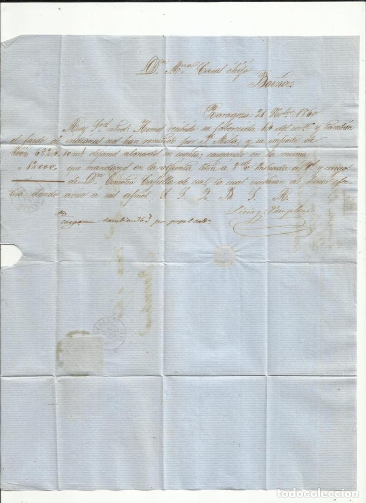 Sellos: circulada Y ESCRITA 1860 DE ZARAGOZA A BARCELONA CON RUEDA DE CARRETA - Foto 2 - 260673895