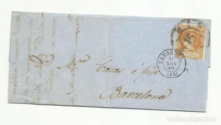 CIRCULADA Y ESCRITA 1860 DE ZARAGOZA A BARCELONA CON RUEDA DE CARRETA (Sellos - España - Isabel II de 1.850 a 1.869 - Cartas)