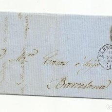 Sellos: CIRCULADA Y ESCRITA 1860 DE ZARAGOZA A BARCELONA CON RUEDA DE CARRETA. Lote 260673895
