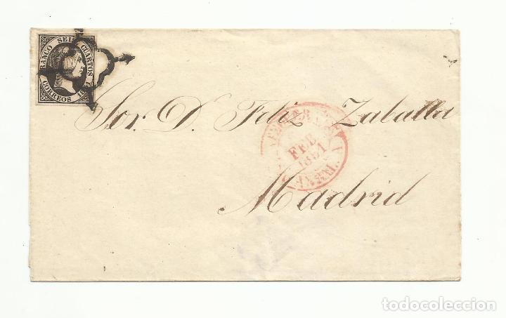 ENVUELTA CIRCULADA 1851 DE ANTEQUERA MALAGA A MADRID (Sellos - España - Isabel II de 1.850 a 1.869 - Cartas)
