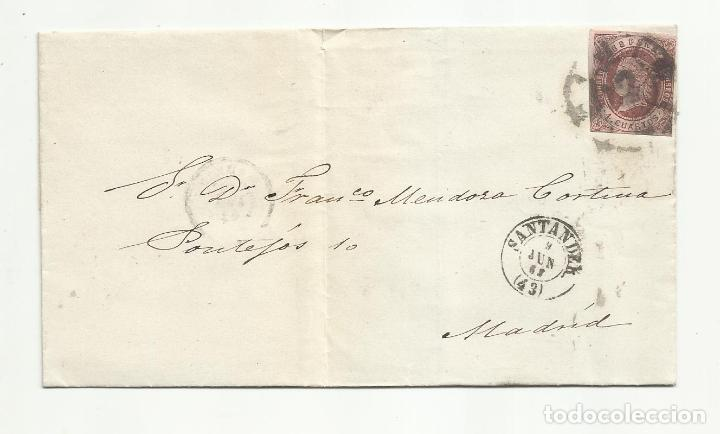 ENVUELTA CIRCULADA 1862 DE SANTANDER A MADRID CON RUEDA CARRETA (Sellos - España - Isabel II de 1.850 a 1.869 - Cartas)