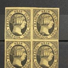 Sellos: ESPAÑA. EDIFIL Nº 6. 1851. BLOQUE DE 4. NUEVO. SIN GOMA.. Lote 261335860