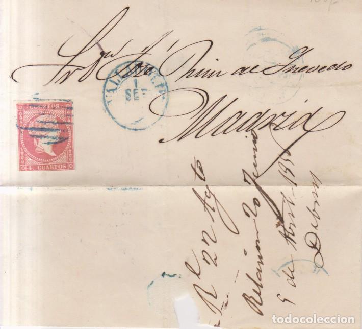 AÑO 1856 EDIFIL 48 ENVUELTA MATASELLOS AZUL REJILLA Y AZUL VALLADOLID (Sellos - España - Isabel II de 1.850 a 1.869 - Cartas)