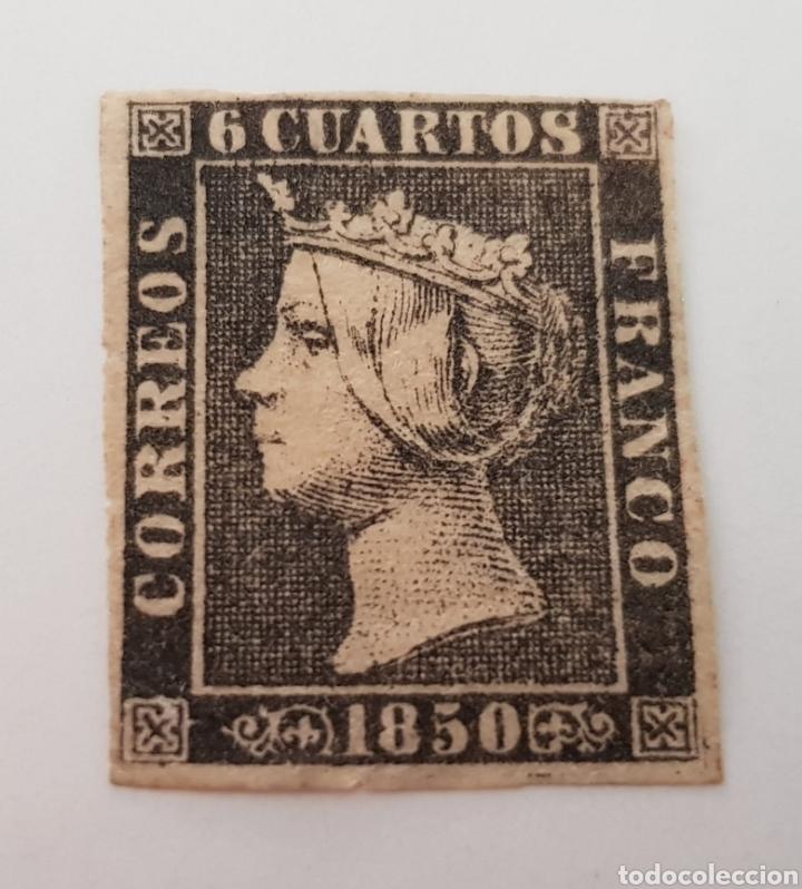 Sellos: SELLO ESPAÑA 1850 ISABEL.II.6 CUARTOS NEGRO.CERTIFICADO EDIFIL 1 A - Foto 2 - 261851685