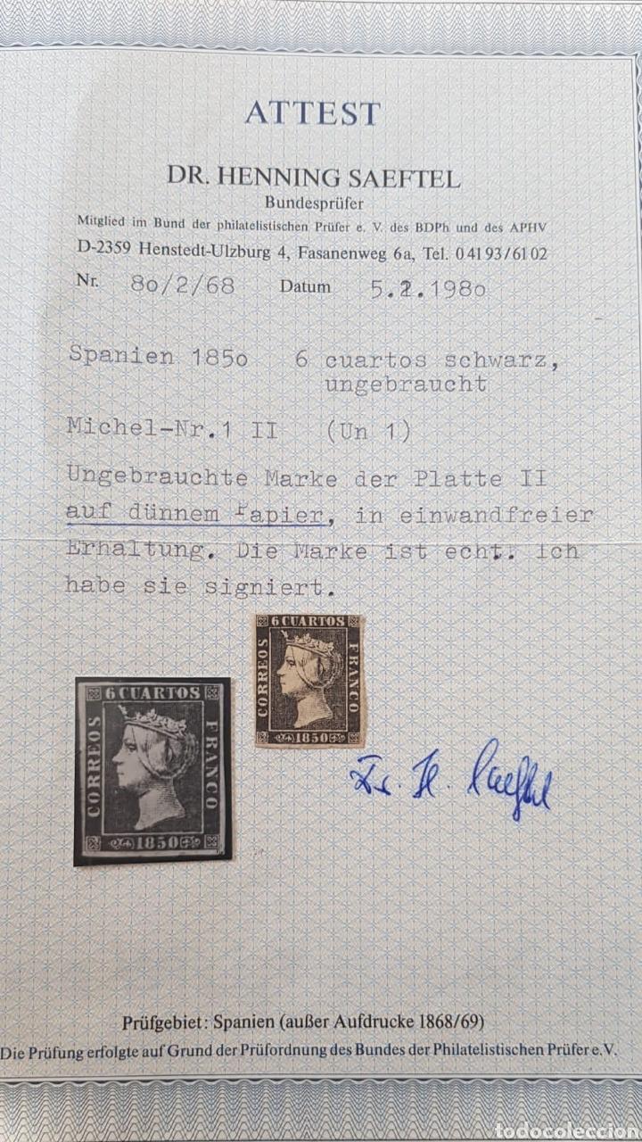 SELLO ESPAÑA 1850 ISABEL.II.6 CUARTOS NEGRO.CERTIFICADO EDIFIL 1 A (Sellos - España - Isabel II de 1.850 a 1.869 - Nuevos)