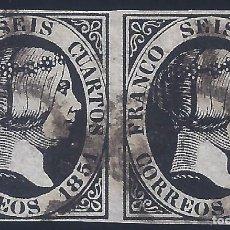 Sellos: EDIFIL 6. ISABEL II. AÑO 1851. PAREJA. MATASELLOS DE ARAÑA NEGRA. NEGRO INTENSO. LUJO.. Lote 261892765