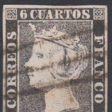 Sellos: 1850 ISABEL II. 6 CUARTOS PLANCHA I. BARRAS DE LOGROÑO. ESCASO. Lote 263052245