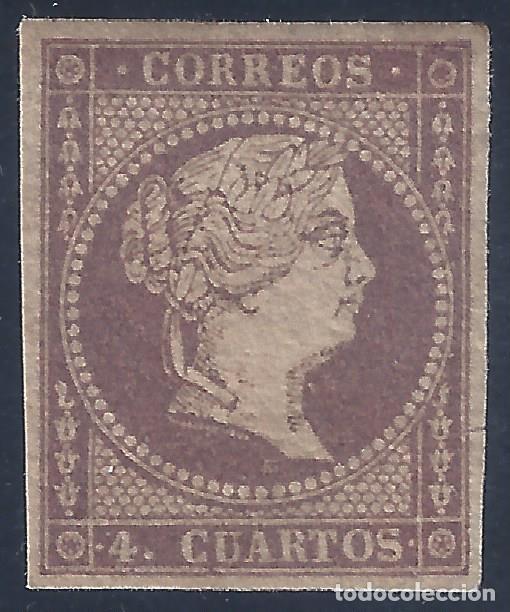 EDIFIL 44 ISABEL II. AÑO 1855. PAPEL FILIGRANA LINEAS CRUZADAS (VARIEDAD...COLOR). LUJO. MH * (Sellos - España - Isabel II de 1.850 a 1.869 - Nuevos)