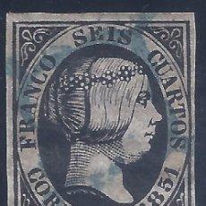 Sellos: EDIFIL 6. ISABEL II. AÑO 1851. PRECIOSO MATASELLOS DE ARAÑA AZUL. NEGRO INTENSO. LUJO.. Lote 263091315